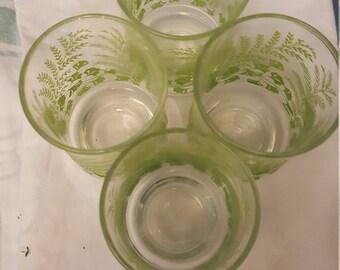 Vintage juice glasses 4 ginko leaves yelow/green
