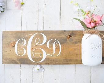 Monogram Sign | Mason Jar | Nursery | Wood Sign | Farmhouse | Rustic | Home Decor | Letters | Initials | Name | Baby | Vase