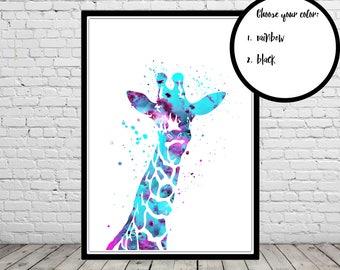 Giraffe, Giraffe watercolor, Giraffe print, watercolor Giraffe, watercolor print, Giraffe art, safari print, safari watercolor (3458b)