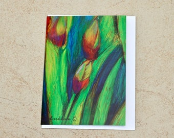 Iris in Green Greeting Card