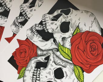 Skulls and Roses A5 300gsm Print