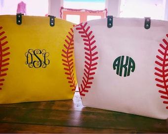 Monogram Baseball Tote Bag - Monogram Softball Tote Bag - Baseball Bag - Softball Bag Monogrammed Tote Bag - Monogram Purse