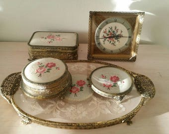 RESERVED FOR J.Art Deco Petit Point Dressing Table Set/5 piece