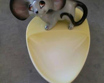 Vintage Japanese Topo Gigio Large Ears/Eyed Porcelain Mouse Tray