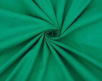 "Green Cotton Cambric Fabric, Sewing Crafts, Dressmaking Fabric, Handcrafted, 41"" Inch Cotton Fabric By The Yard PZBC2A"