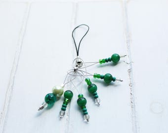 For the knitter - Set of stitch markers for knitting - green - Knitting Stitch Markers - Green Beads
