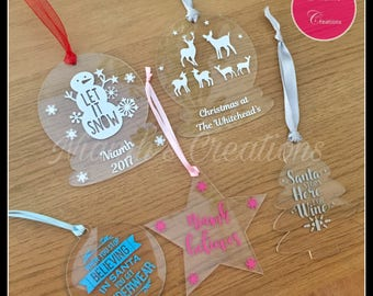 Personalised Acrylic Christmas Tree Decorations / Christmas Baubles