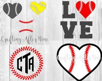 Baseball SVG Bundle, Baseball Heart SVG File, Softball Svg, Baseball Stitches, Softball Heart SVG, File for Cricut, Silhouette Cameo Bundle