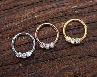 Daith piercing Hoop Daith Hoop Earring Septum Ring Septum Piercing 16g BCR Rose Gold Silver Zircon