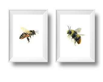 Bee Print Set of 2 - Honey Bee & Bumble Bee. Bee Wall Art. Alcohol Ink Painting Print.  Bee Lover Gift. Honeybee Art. Insect Illustration.