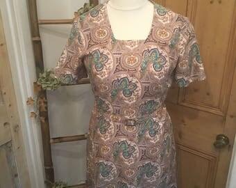 Gorgeous Vintage Paisley Print Dress by Riddella Size 14
