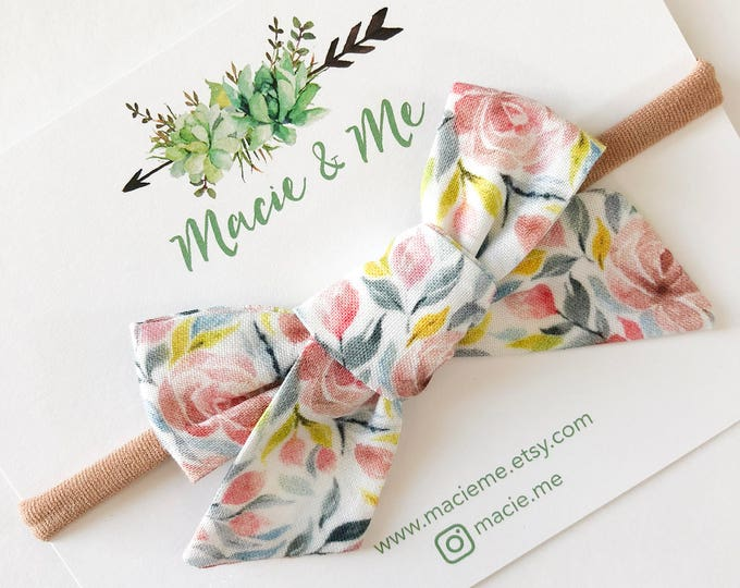 Pink and Blue Floral Bow
