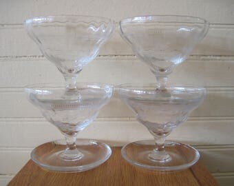 Etched Optic Glass Champagne Coupe Glasses - Item #1302