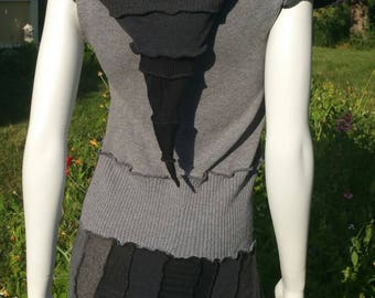 Custom adult size sleeveless pixie coat in your size, favorite colors, and fabrics