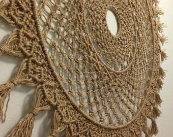 Round Macrame Wall Hanging Wall Decor Rope Fringing