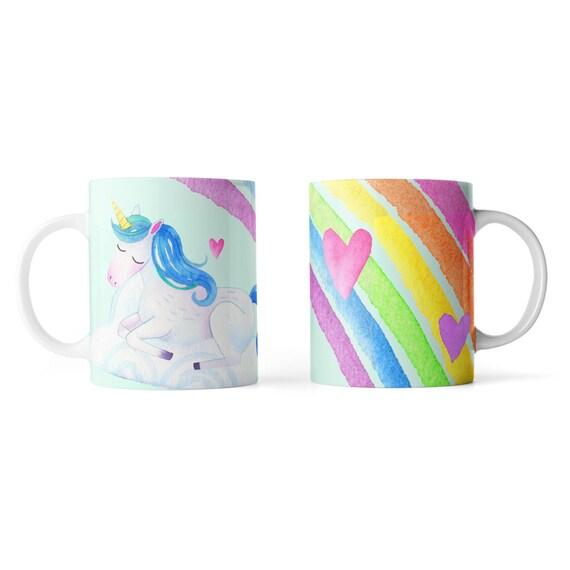 Cute watercolor unicorn rainbow mug - Funny mug - Rude mug - Mug cup 4P107