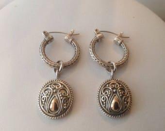 BA Sterling Silver & 18K Gold Drop Pierced Earrings