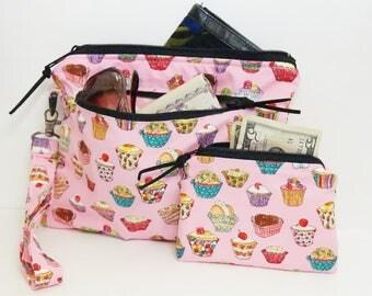 Cupcake Purse/Cupcake Wristlet/Cupcake Make Up Bag/Wristlet Set/Cupcake Coin Purse/Cupcake Pencil Case/Cupcake Pouch/Cute Cupcake Purse/Pink