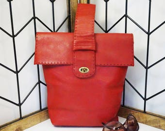 Red Leather Handbag/Marlow Original USA/Red Leather Bag/Vintage USA Bag/Leather Purse/Red Leather Purse/USA/Marlow Original/Marlow Purse