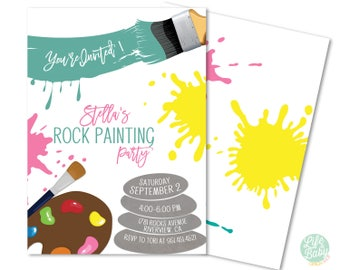 Rock Painting Invitation | Rock Painting Party Invitation - 5x7 with reverse side
