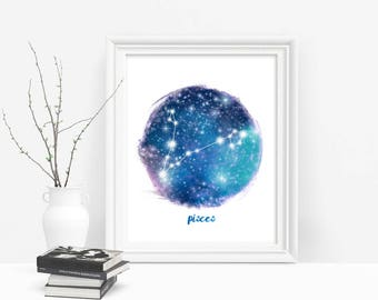 Zodiac Pisces Printable Art, Star Sign, Pisces Constellation Zodiac Wall Art Download