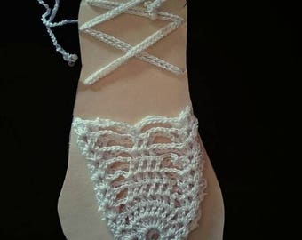 Pineapple stitch white thread barefoot Sandals. Want another color?  let's talk!