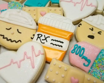 Feel better post surgery cookies royal ining sugar cookies, get well gift hospital work cookies