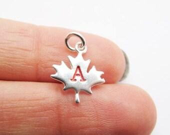 Silver Maple Leaf,Canada 150,Canada Day,Low Shipping,Sterling Silver Maple Leaf Charm,Canadian Maple Leaf,Initial,Canadian Charm,Maple Leafs