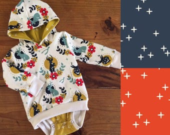 Organic Infant/Toddler Hoodie Bodysuit, Tall Tales, Jackalopes