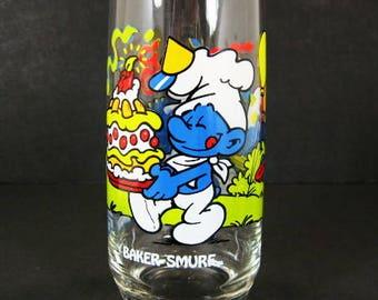 1983 Baker Smurf 16oz Ice Tea Glass Tumbler Peyo Wallace Berrie Hardee's