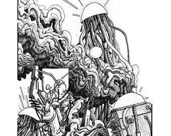 Combustion - drawing - art print