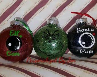 Santa can, Elf Cam, Grinch ornamnment, Santa, Elf, Grinch, Christmas Ornament