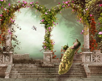 Floral Gate Backdrop - Peacock, enchanted forest woods, wedding, gothic building architecture - Printed Fabric Photography Background W1264