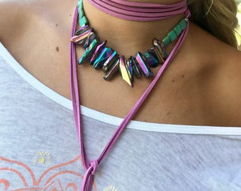 Multi Colored, Choker, Necklace, Faux Suede Leather or Deerskin, Other Colors are Available, Luster Quartz Crystal Beads