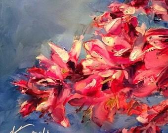 azalea // azalea art // azalea painting // original art // fine art // original oil painting // pink flower painting // pink flower art
