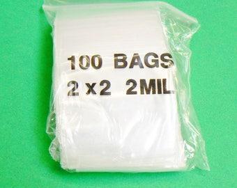 "100 2""X3"" Ziplock Bags Clear Poly 2 Mil Reclosable 2 X 3 Zip Lock Baggies Reloc  (2E)"