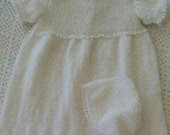 Knit christening gown and bonnet with crochet lace
