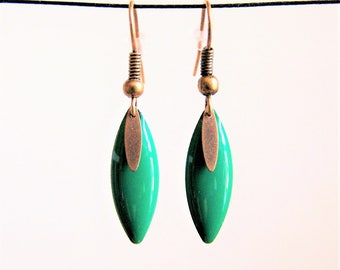 Earrings fine shuttle enameled Green