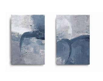 Contemporary Wall Art, Modern Art, gray and sky- blue , cambridge blue, set of 2 , oil painting , canvas art, Abstract Texture