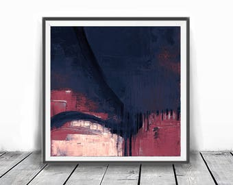 Digital print, coral, decor, wall art abstract, indigo, affordable wall art , abstract, navy blue, Abstract Painting, red and blue