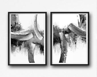Scandinavian abstract, Printable Art, Art Poster, modern abstract, Industrial Decor, gray , white , black, large print, Abstrac Set