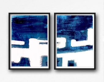 Abstract Art Print Set, 2 blue Abstract, , Printable Abstract, instant download, Scandinavian Art , Art set, navy blue and white