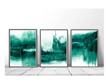 Abstract Wall Art Print, Green Painting, Emerald, Teal Decor, Modern Minimalist, Watercolour, Printable Digital , Large Poster, set of 3