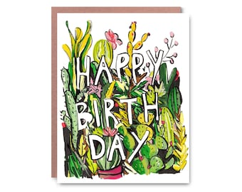 Cactus Birthday - Illustrated blank card, Thanks, 4x5