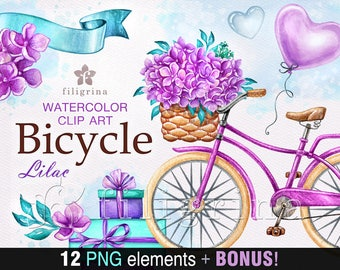 BICYCLE watercolor Clip Art. Romantic ride, retro bike, balloon, flower, gift. Love. Valentine's day invitation, card making. Read about use