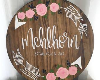 Custom Family Name Round - Wood Sign