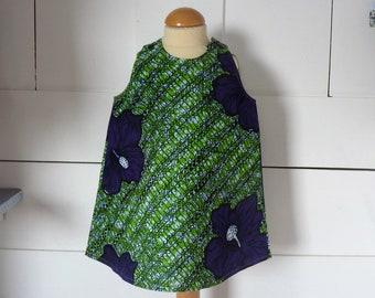 robe fille 9 mois coton wax vert imprimé de grandes fleurs bleu /violet