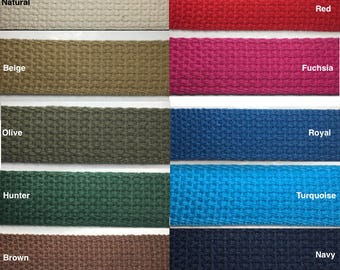 """1"""" Cotton Webbing - 10 Continuous Yards - Many Colors Available - Made in USA"""