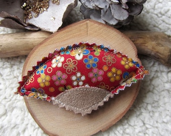 Brooch fan, Japanese fabric red flowers and beige suede jewelry