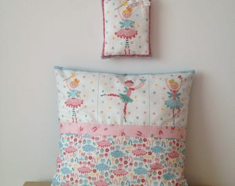 Pillow cover and cushion holder Princess ballerina fairy cotton fabric pink green and white